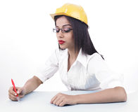 Asian female engineer Stock Photo