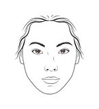 Asian female face makeup chart for makeup, beauty  and cosmetics lessons training. Stock Photos