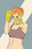 Asian Female Fighter with halftone effect Royalty Free Stock Photo