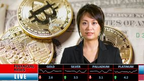 Asian female financial news presenter. Asian female anchorwoman presenting financial news from TV studio, with lower thirds and cryptocurrency background royalty free stock photo