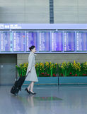 Asian female flight attendant at International airport of Incheo Stock Photos