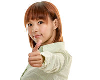 Asian female in green shirt with thumbs up Royalty Free Stock Photography
