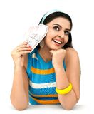 Asian female with indian currency Royalty Free Stock Image