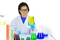 Asian female medical technologist working in laboratory. Asian female medical technologist working with chemical in research laboratory Stock Image
