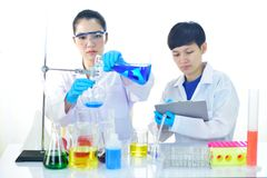 Medical technologist working in laboratory. Asian female medical technologist working with chemical in research laboratory Royalty Free Stock Photos