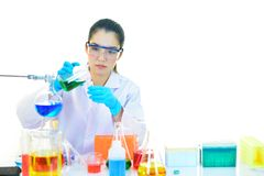 Medical technologist working in laboratory. Asian female medical technologist working with chemical in research laboratory Royalty Free Stock Photography