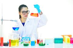 Medical technologist working in laboratory. Asian female medical technologist working with chemical in research laboratory Stock Photo