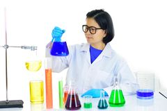 Asian female medical technologist working in laboratory. Asian female medical technologist working with chemical in research laboratory Royalty Free Stock Image