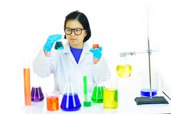 Asian female medical technologist working in laboratory. Asian female medical technologist working with chemical in research laboratory Stock Photography