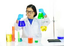 Medical technologist in laboratory. Asian female medical technologist working in laboratory Royalty Free Stock Image