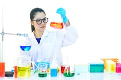 Medical technologist working in laboratory. Asian female medical technologist working in research laboratory Stock Image