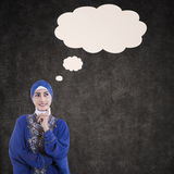 Asian female muslim thinking with blank cloud Royalty Free Stock Photography