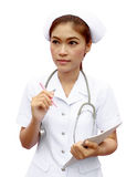 Asian female nurse with medical report Royalty Free Stock Photography