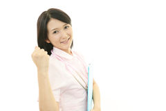 Asian female nurse. On white background Royalty Free Stock Photography