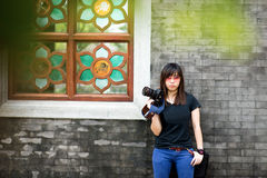 Asian female photographer Stock Photography