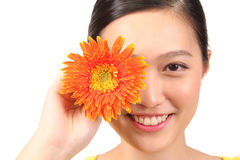 Asian female posing daisy flower Stock Photo