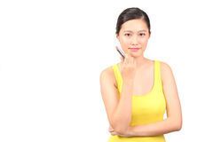 Asian female posing with lipstick Royalty Free Stock Photography