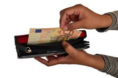 Asian female removing money from wallet Royalty Free Stock Image