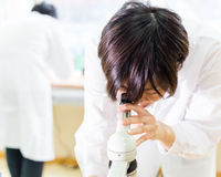 Asian female scientist looking into microscope Stock Images