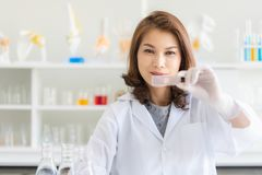 Asian female scientist poses in laboratory stock images