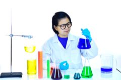 Asian female scientist in research laboratory stock photography
