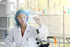 Asian female scientist stock image