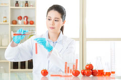 Asian female scientist working on plant biology Stock Images
