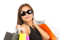 Asian Female Shopper Portrait Close Up At Camera Stock Images