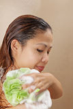 Asian female showering Stock Photos