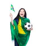 Asian female soccer fans Stock Image