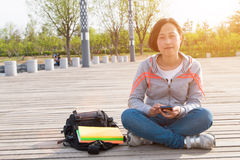 Asian female student. Close-up of Asian female student Royalty Free Stock Photo