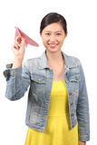 Asian female student  paper aeroplane - Series 2 Royalty Free Stock Images