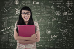 Asian female student surprise expression in class Stock Image