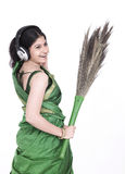 Asian female sweeper Royalty Free Stock Photo