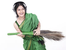 Asian female sweeper Royalty Free Stock Images