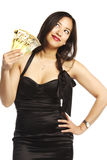 Asian female thinking where to spend her money Royalty Free Stock Photos