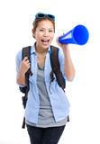 Asian female traveler yell with megaphone. Isolated on white Royalty Free Stock Images