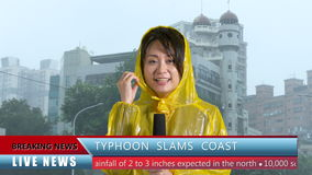 Asian female TV weather reporter reporting bad storm. Asian female TV weather reporter reporting on typhoon with lower thirds stock footage