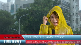 Asian female TV weather reporter reporting bad storm. Asian female TV weather reporter reporting on typhoon with lower thirds stock video footage