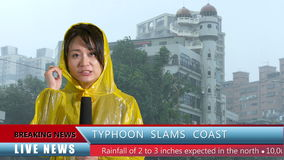 Asian female TV weather reporter reporting bad storm. Asian female TV weather reporter reporting on typhoon with lower thirds stock video