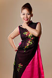 Asian female wearing a pink Vietnamese dress Stock Image