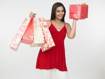 Free Asian Female With Shopping Bags Stock Images - 6911394