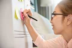 Asian Female writing on post it notes. stock image