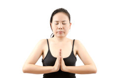 Asian female yoga isolated. Royalty Free Stock Photo