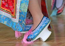 Traditional Chinese High Heel Dance Shoes Stock Image