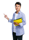 Asian with file pad and finger point put Royalty Free Stock Photos
