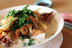 Asian fish noodle. Fish head rice noodle soup royalty free stock photos