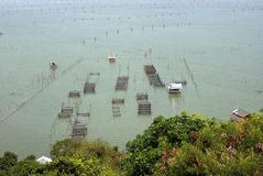 Asian fishery farms in Thai style. Plenty of fishery farms in a lake of South Thailand Stock Photo