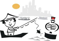 Asian fishing cartoon. Cartoon of Asian man fishing in harbor beside buoy with boats in background Stock Photos