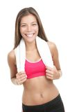 Asian fitness woman. With towel around her neck. Gorgeous mixed race chinese / caucasian model isolated on white background Stock Photos